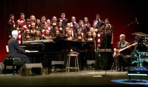 Trinity Hall's Glee Club and CBA's Men's Choir performing at the CBA Jazz Series with David Benoit on Dec 3.  Photograph courtesy of John Sanfratello