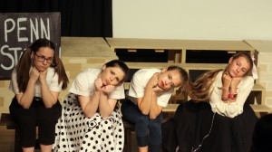 """Lindsey B., Grace M., Lizzy C. and Madeline E. perform """"Put on a Happy Face"""" in Bye Bye Birdie."""