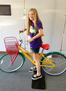 Sophomore Holly Koerwer tries out a Google bike while visiting the Google Headquarters in Mountain View, California.