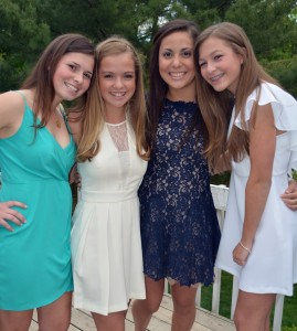 Reilly B., Jacqueline M., Malia W. and Olivia D. enjoyed the opportunity to socialize in style at the school's first semi-formal dance on May 15 at the Beacon Hill Country Club in Atlantic Highlands. Photo Courtesy of Olivia DeNicola.