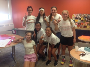 The White Team won the school's first Field Day competition on May 14. Pictured from L to R, F to B: Lizzy C., Kay F., Liszeth R., Madame Lehman, Malia W., Abby M. and Haley C., Photo by Alyssa Morreale.