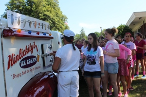 The student body president and vice-president arranged for a surprise visit from an ice cream truck on May 29.
