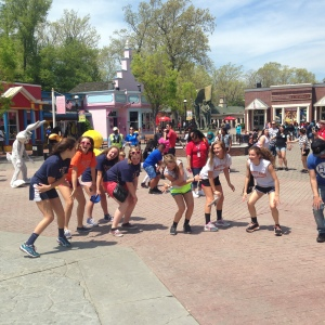 Students enjoyed dancing with the theme park characters during the Six Flags Physics Day field trip on May 8. Photo by Alyssa Morreale.