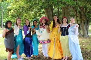 Students dressed up as beloved childhood characters to entertain students from Mother Teresa Regional School during the Pinkies Up Princess Tea Party on May 28. Photo by Melissa Whelan.