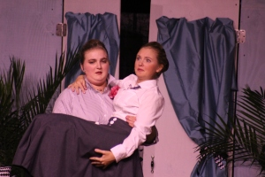 "Chloe T. and Holly K. add comedy to their performance in ""Suite Surrender"" on Nov. 20 at Croydon Hall Gymnasium."