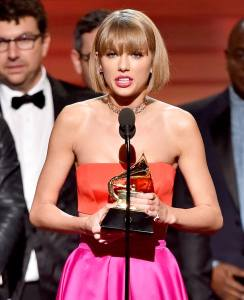 Taylor Swift became the first female to win two Grammy awards for Best Album at the 2016 Grammy Awards.