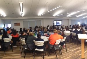 The Commons allows the student body to gather for lunch and community meetings, like this one held on Oct. 21. Photo courtesy of Kelly Weber