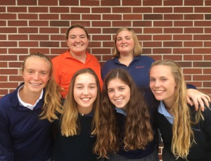 Students recently elected (front row, L to R) Colleen K. (freshmen), Kathryn O. (sophomores), Kailin B. (juniors) and Lily S. (seniors), as well as their (back row, L to R) student body vice president Abby M. and president Chloe T. Photo by Malia Wolf